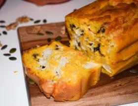 Cake potiron, chèvre et noix
